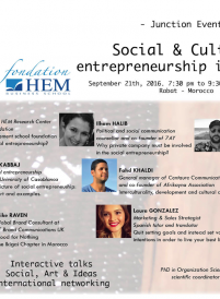 Junction event, social and cultural entrepreneurship - Fondation HEM - Septembre 2016